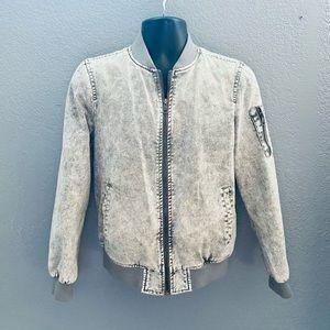 Levi's Gray Acid Washed Denim Bomber Jacket